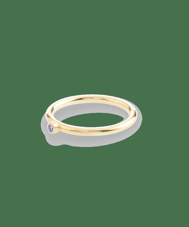 Birthstone Ring 14K-19-Solid 14K Yellow Gold-dec - Tanzanite
