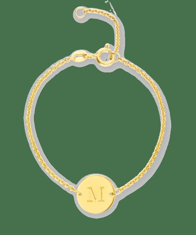 Mini Initial Coin Bracelet-Plated -13-15 cm
