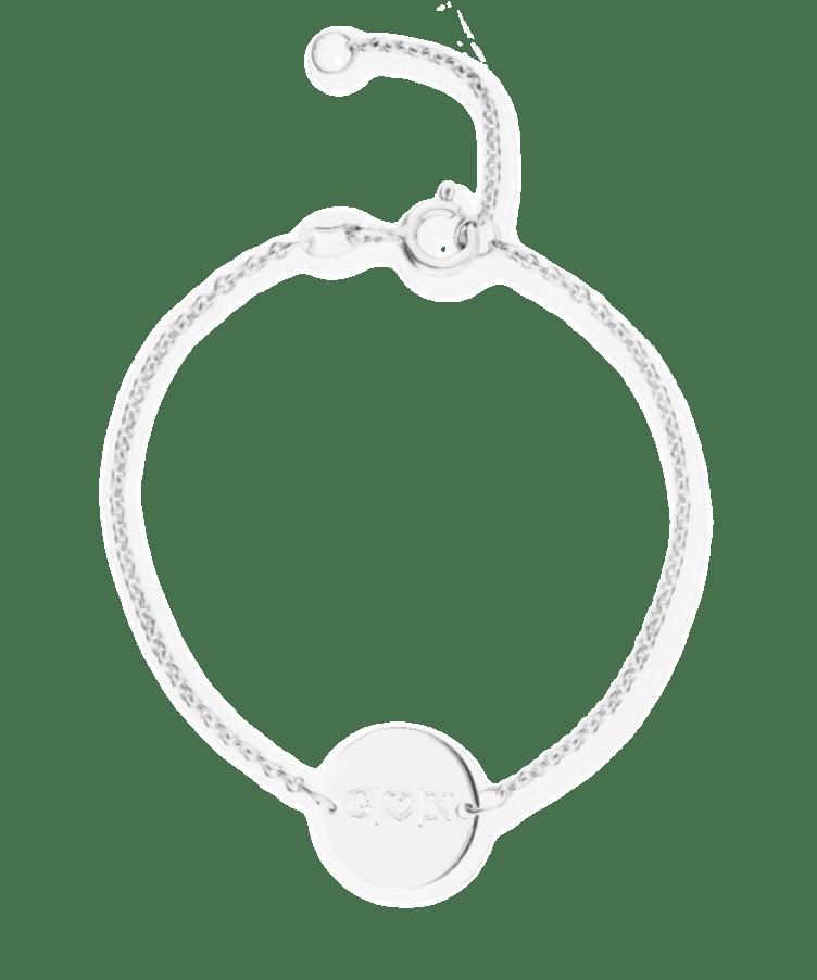 Mini Initial Coin Bracelet-925 Sterling Silver-13-15 cm