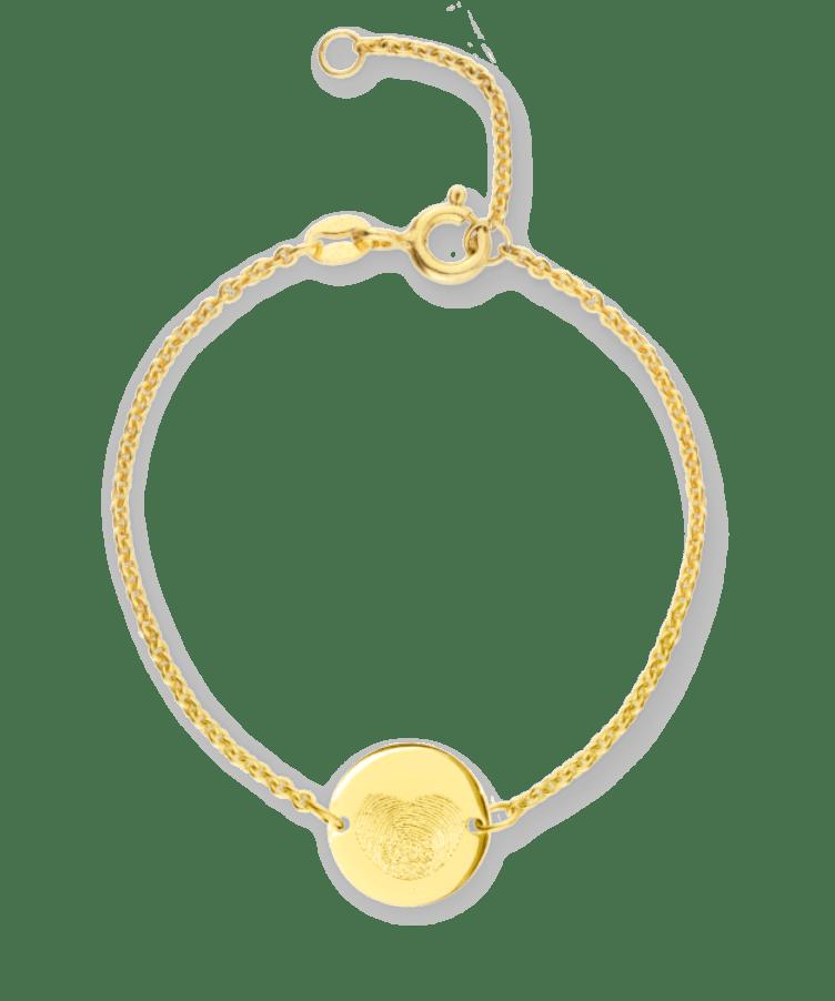 Mini Fingerprint Coin Bracelet-Solid 9k yellow-13-15 cm