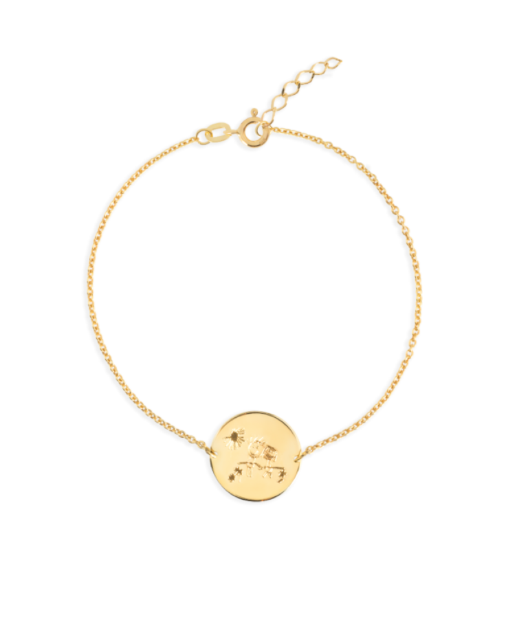 Signature Coin Bracelet-Solid 14K Yellow Gold-Extra Large: 18 CM