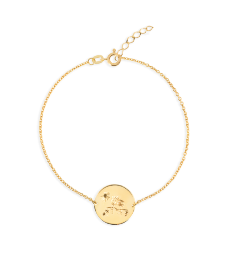 Signature Coin Bracelet-Solid 9k yellow-Extra Large: 18 CM
