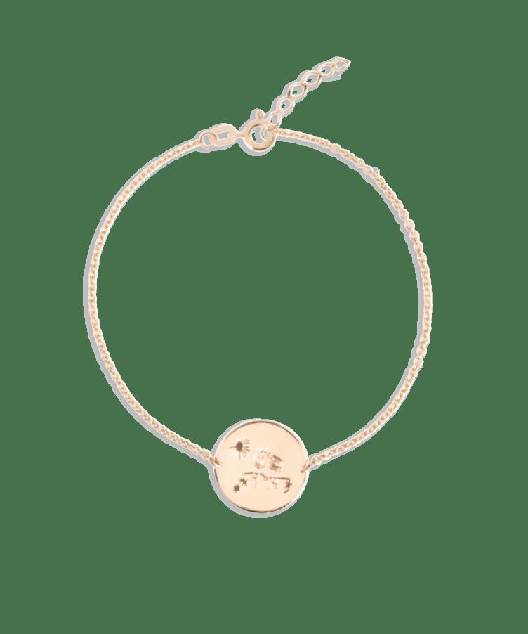 Signature Coin Bracelet-Solid 14K Rose Gold-Extra Large: 18 CM