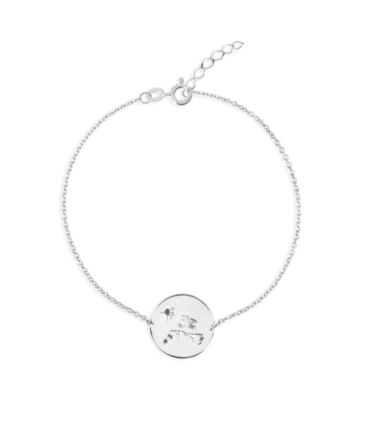 Signature Coin Bracelet-Solid 14K White Gold-Extra Large: 18 CM