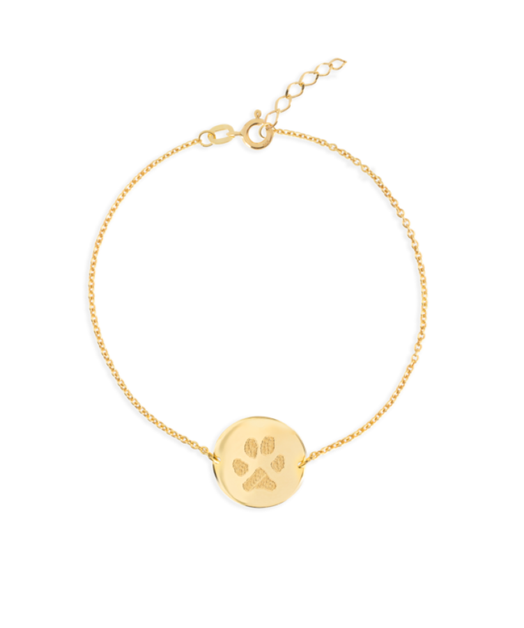 Paw Print Coin Bracelet-Solid 9k yellow-Extra Large: 18 CM