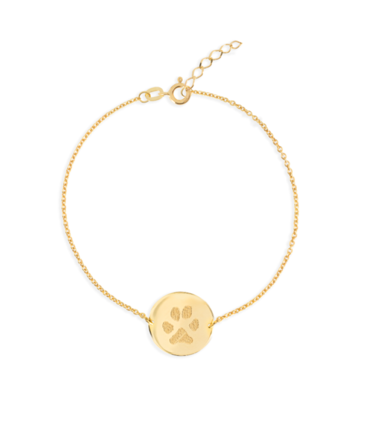 Animal Print Coin Bracelet-Plated 14K Yellow Gold-Extra Large: 18 CM