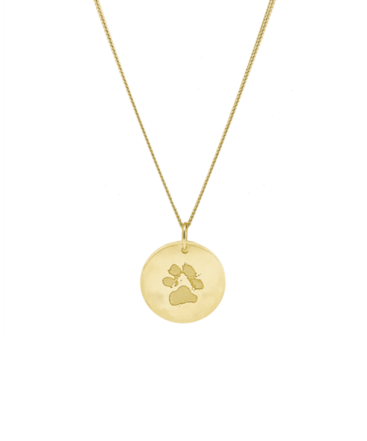 Animal Print Coin Necklace-Large: 50 CM-Solid 14K Yellow Gold