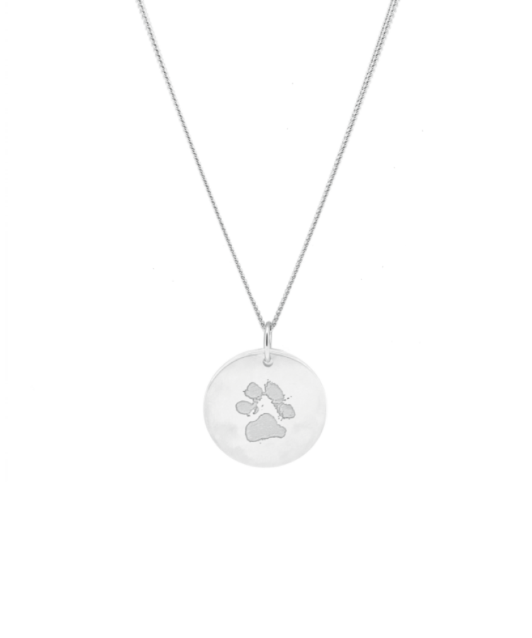 Animal Print Coin Necklace-Large: 50 CM-Solid 14K White Gold