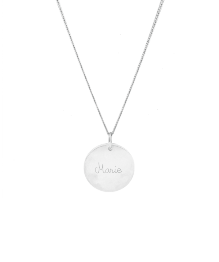 Signature Coin Necklace-Solid 14K White Gold-Large: 50 CM