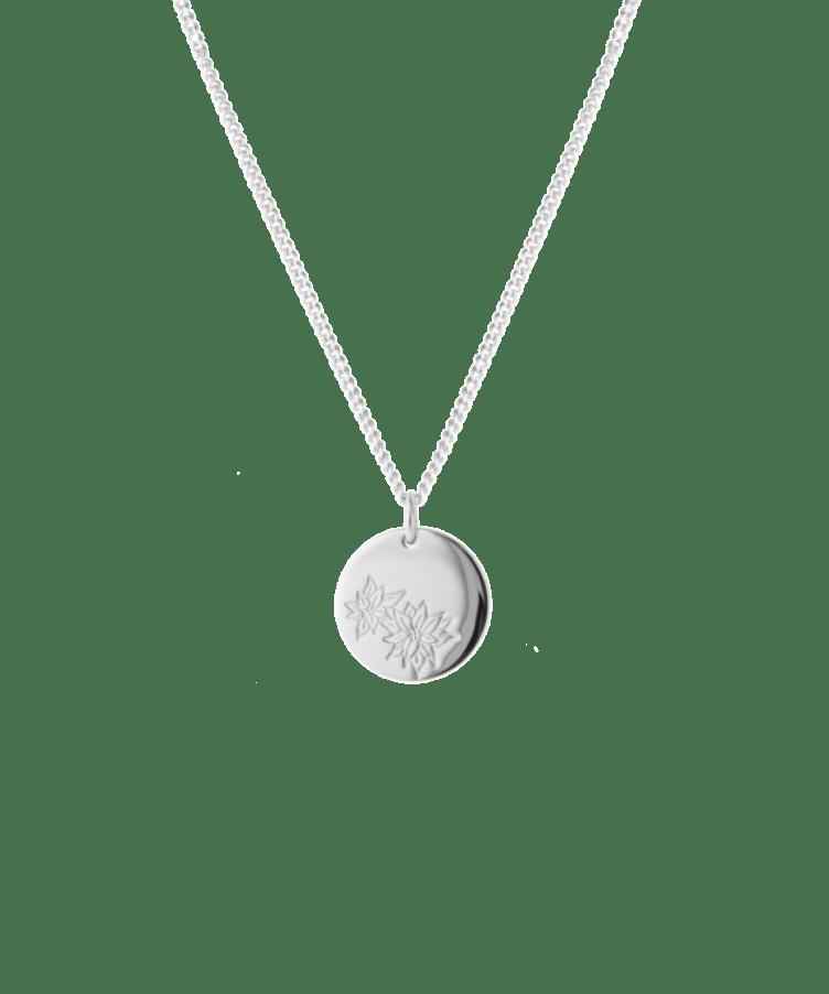 birthflower necklace silver poinsettia