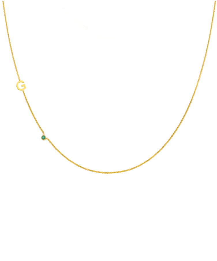 Letter + Birthstone Necklace-Large: 44 CM-Solid 14K Yellow Gold