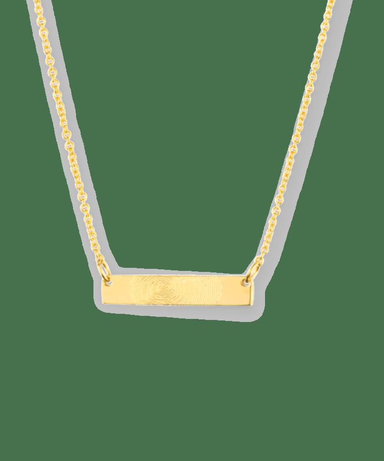 Mini Fingerprint Bar Necklace-Solid 9k yellow-35 cm