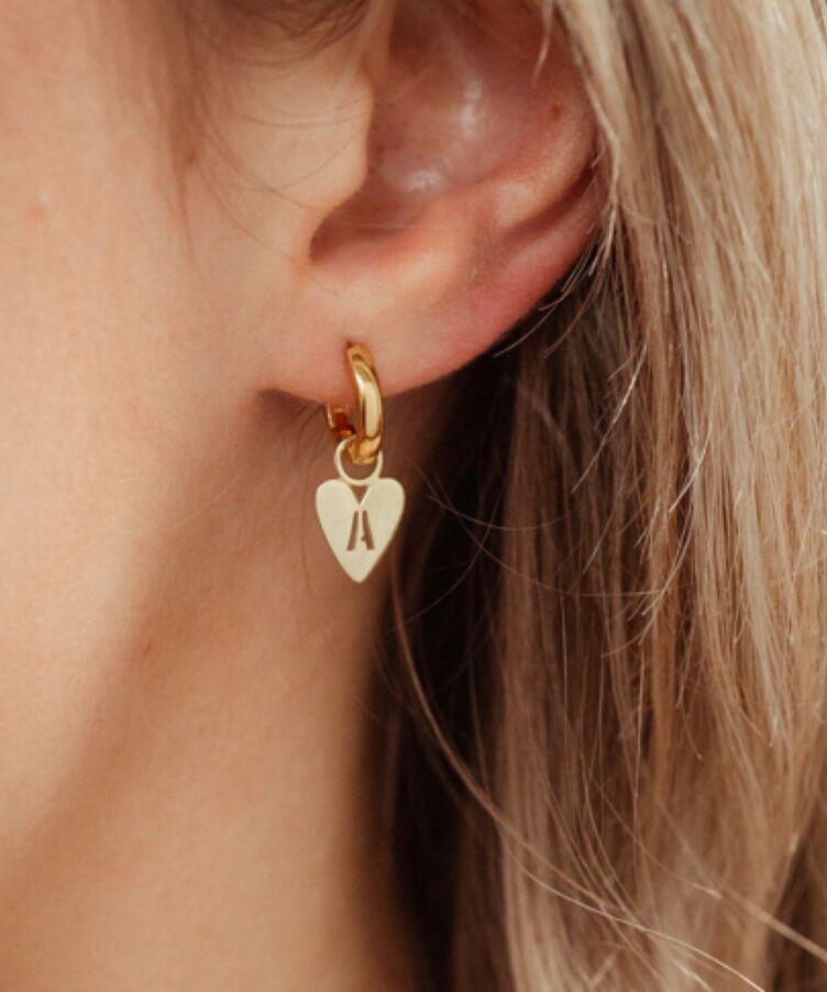 Hannah Heart Letter Earring