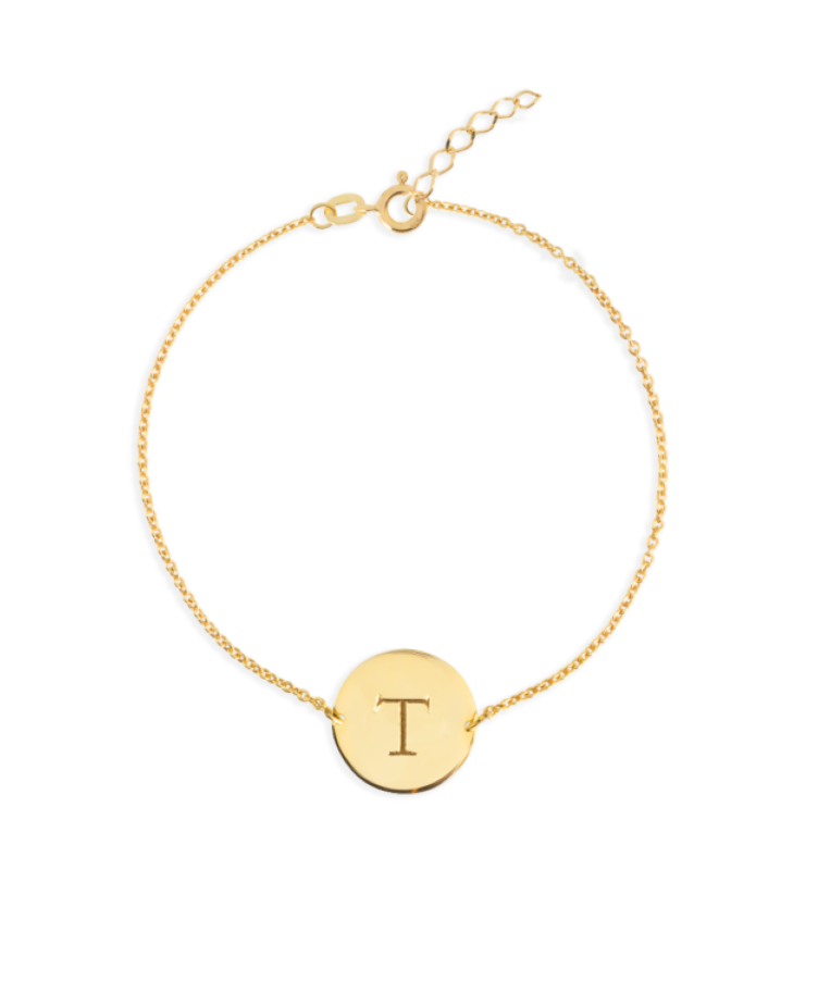 Initial Coin Bracelet-Solid 14K Yellow Gold-Extra Large: 18 CM