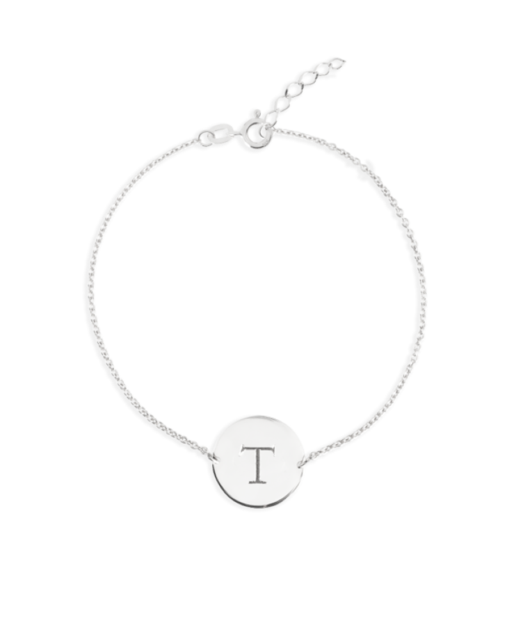 Initial Coin Bracelet-Solid 14K White Gold-Extra Large: 18 CM