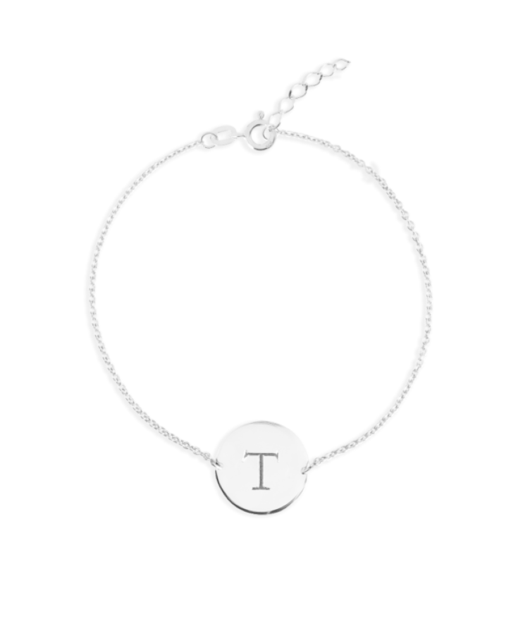 Initial Coin Bracelet-Silver-Extra Large: 18 CM
