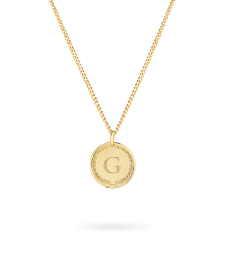 initial coin necklace or