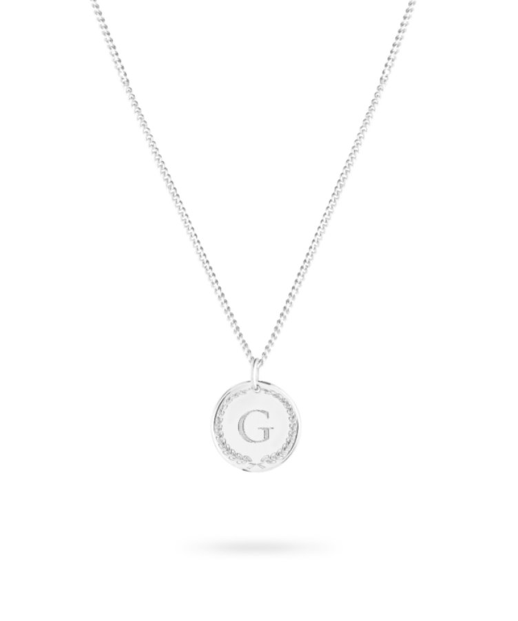initial coin necklace silver