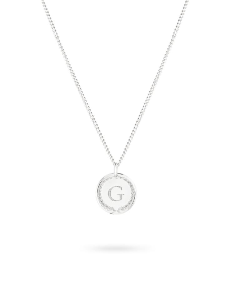 initial coin necklace white gold