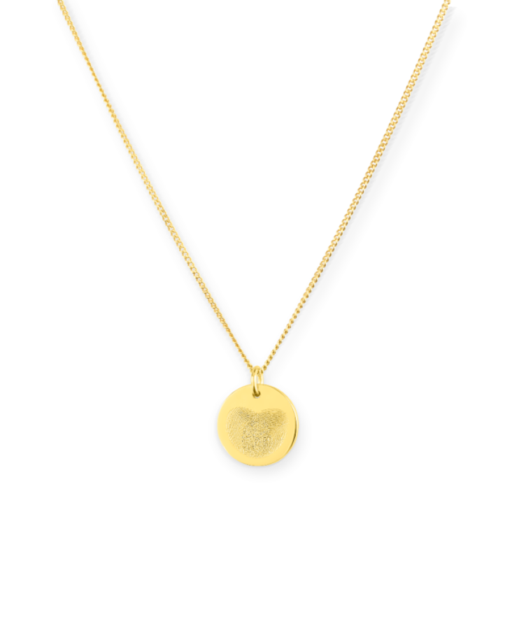 Mini Fingerprint Coin Necklace-Solid 9k yellow-35 cm