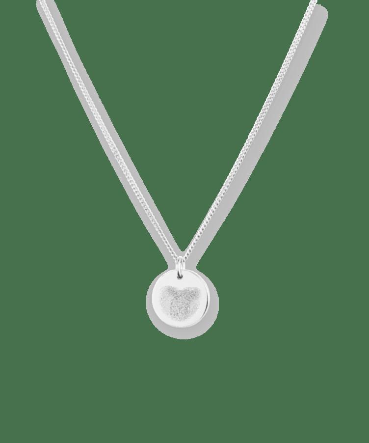 Mini Fingerprint Coin Necklace-925 Sterling Silver-35 cm