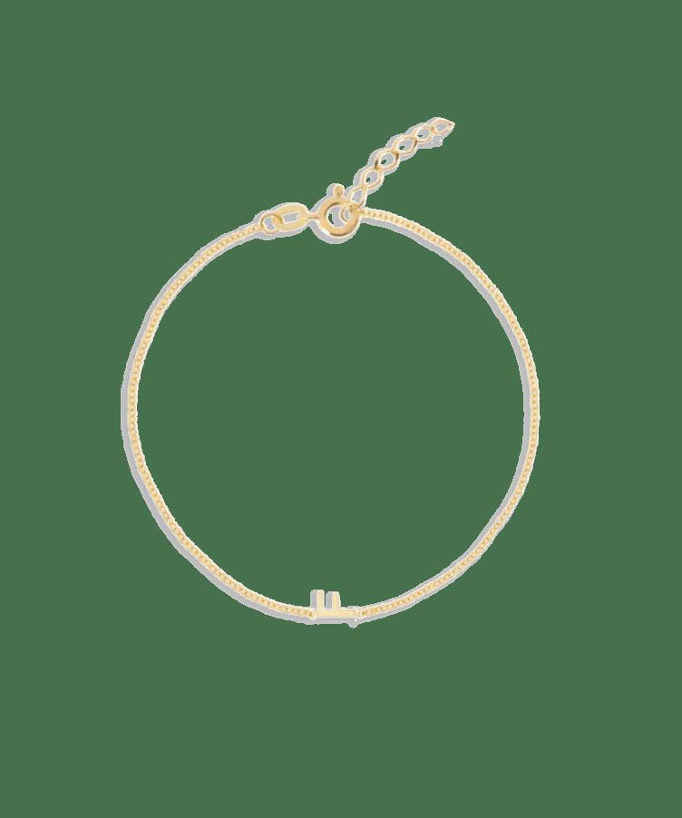 Letter Bracelet-Solid 14K Yellow Gold-Extra Large: 18 CM
