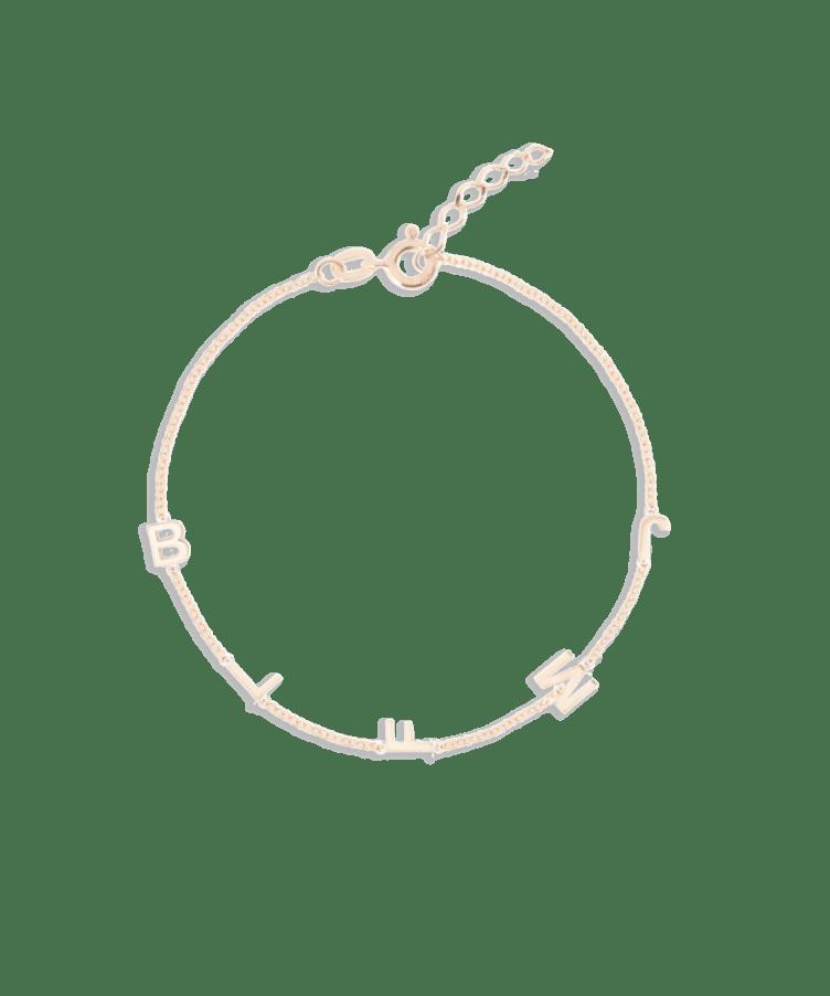 Letter Bracelet-Solid 14K Rose Gold-Extra Large: 18 CM