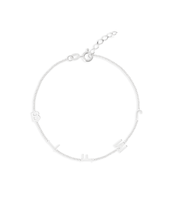 Letter Bracelet-Solid 14K White Gold-Extra Large: 18 CM