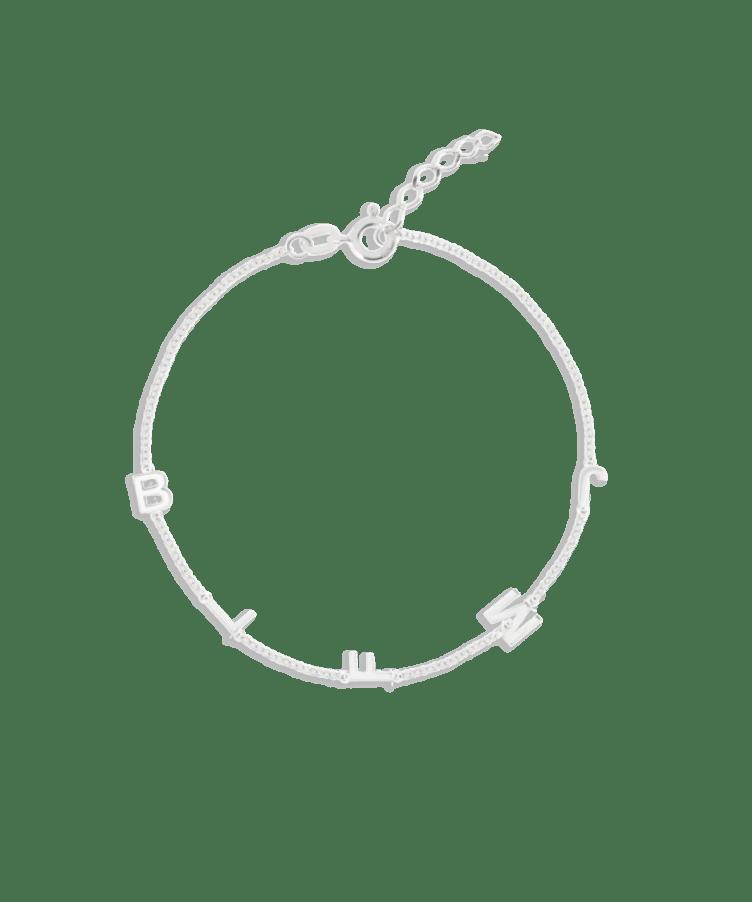Letter Bracelet-Solid 9k White-Extra Large: 18 CM