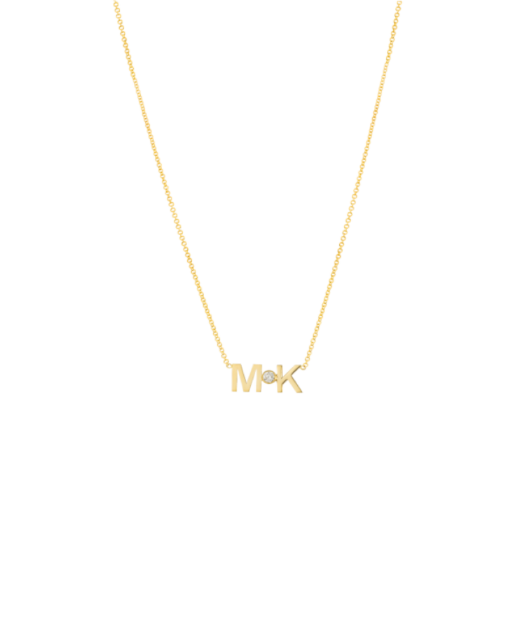 Letters + Diamond Necklace-Solid 14K Yellow Gold-Large: 44 CM
