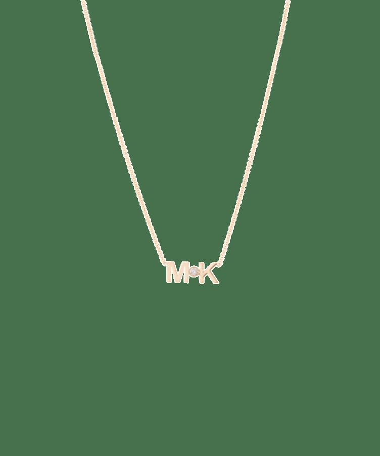 Letters + Diamond Necklace-Solid 14K Rose Gold-Large: 44 CM