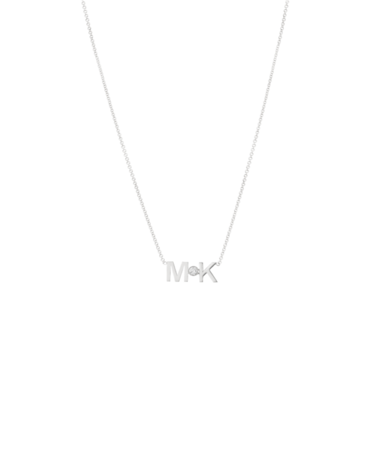 Letters + Diamond Necklace-Solid 14K White Gold-Large: 44 CM