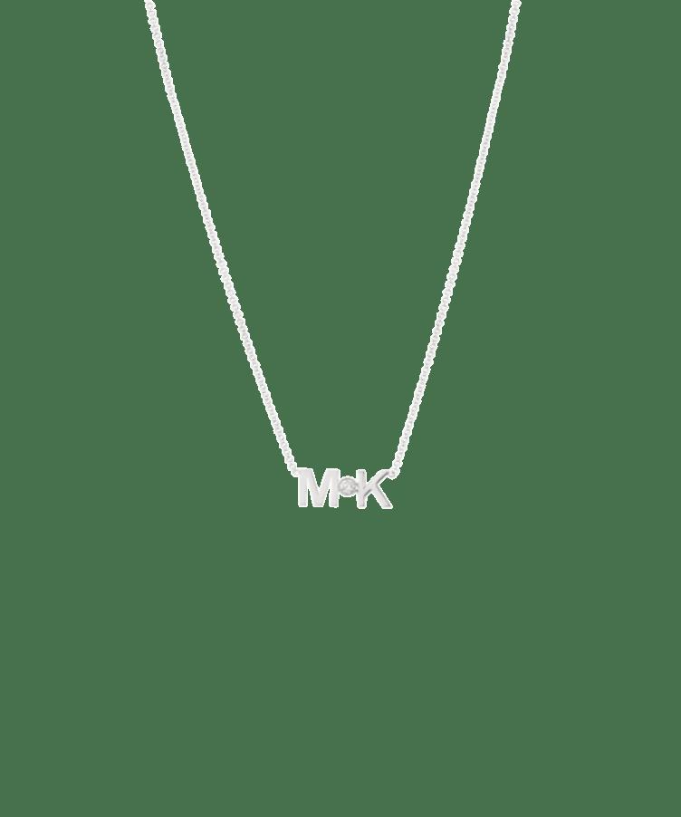 Letters + Diamond Necklace-Solid 9k White-Large: 44 CM