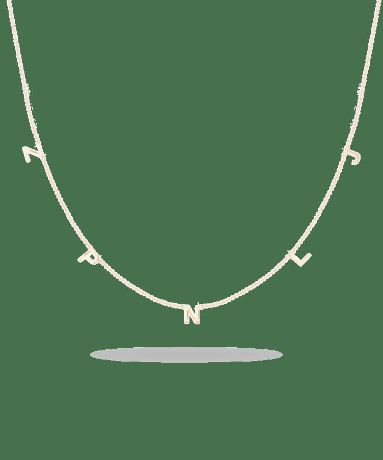 Letter Necklace-Solid 9k Rose-Large: 44 CM