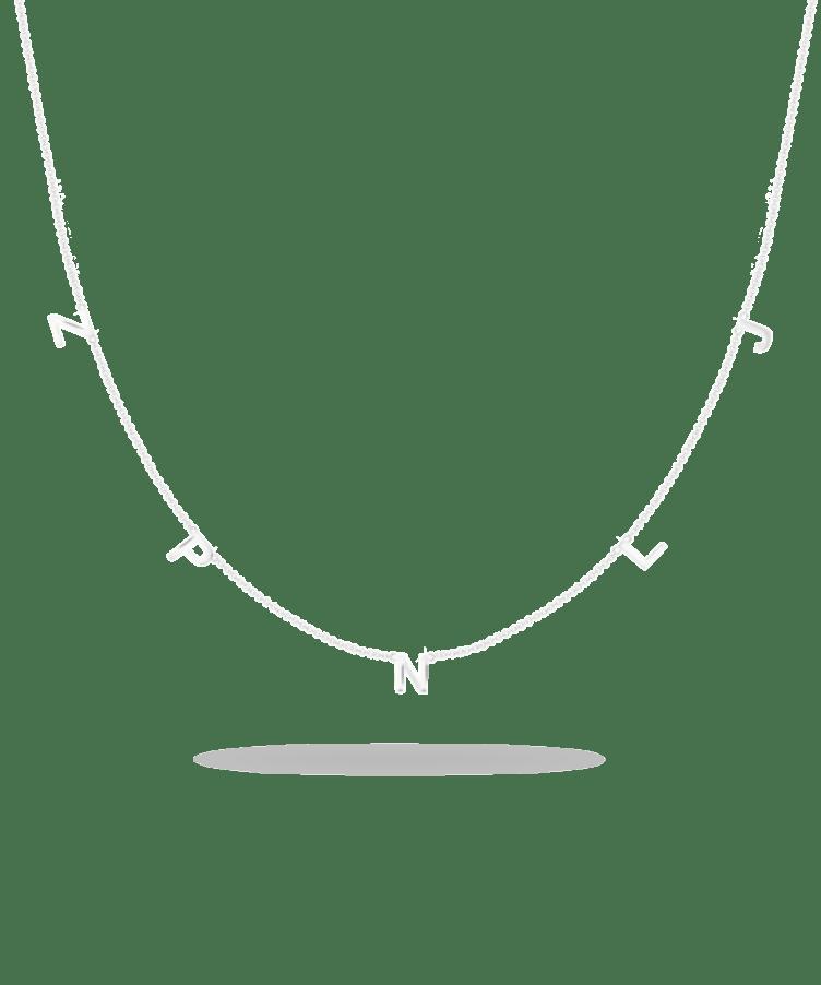 Letter Necklace-Solid 9k White-Large: 44 CM