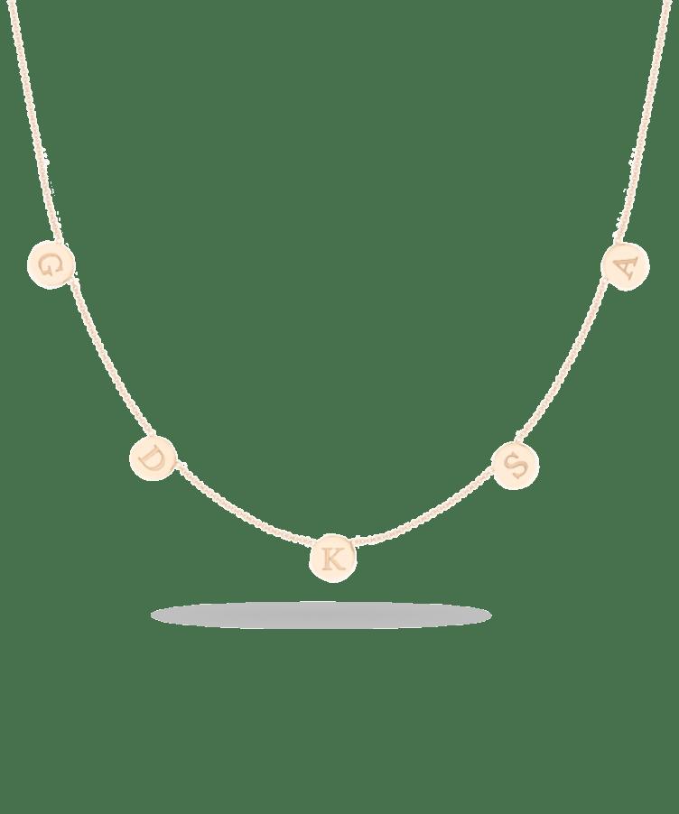 Little Coin Necklace-Solid 14K Rose Gold-Large: 44 CM