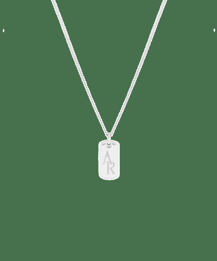 Monogram Tag Necklace-925 Sterling Silver-Large: 50 CM