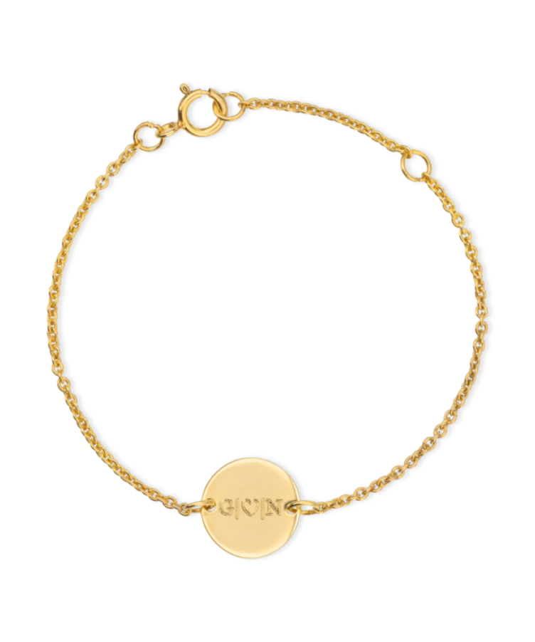 Mini Initial Coin Bracelet-Solid 9k yellow-13-15 cm