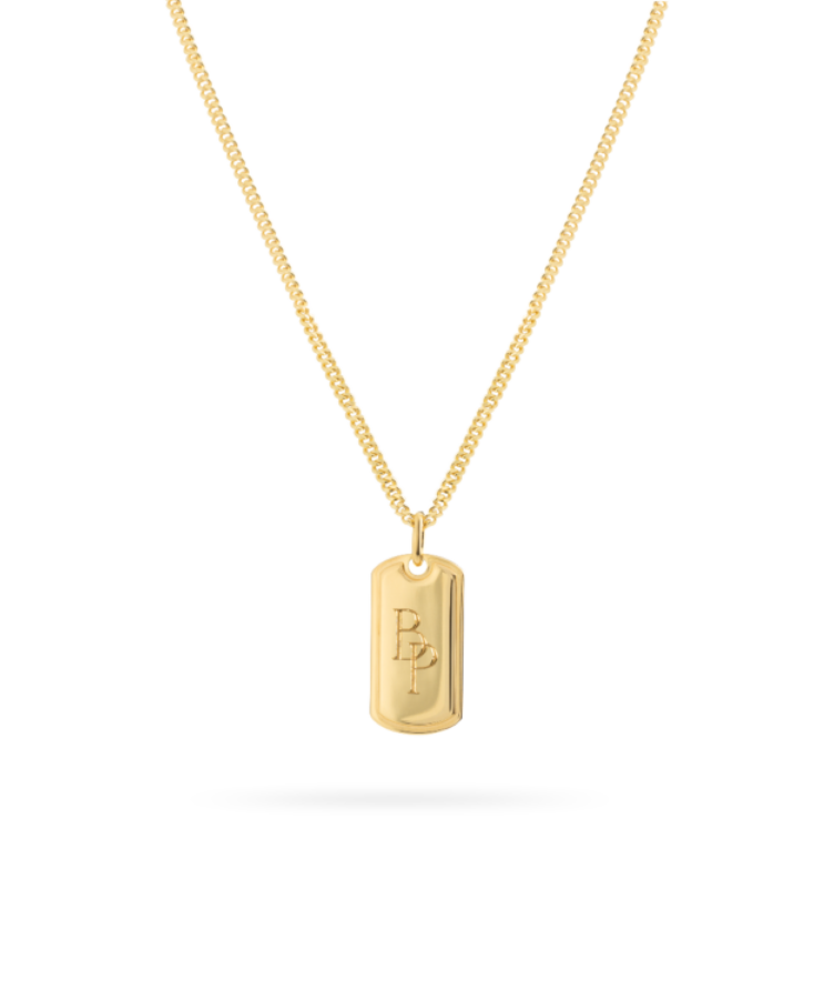 Monogram Tag Necklace-Plated 14K Yellow Gold-Large: 50 CM