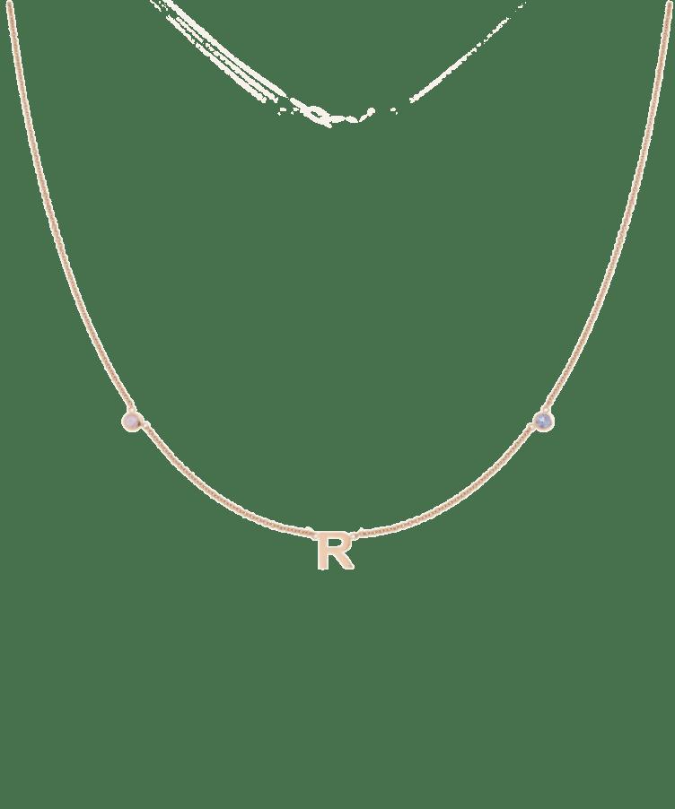 Mini Letter + Birthstone Necklace-Solid 14K Rose Gold-35 cm
