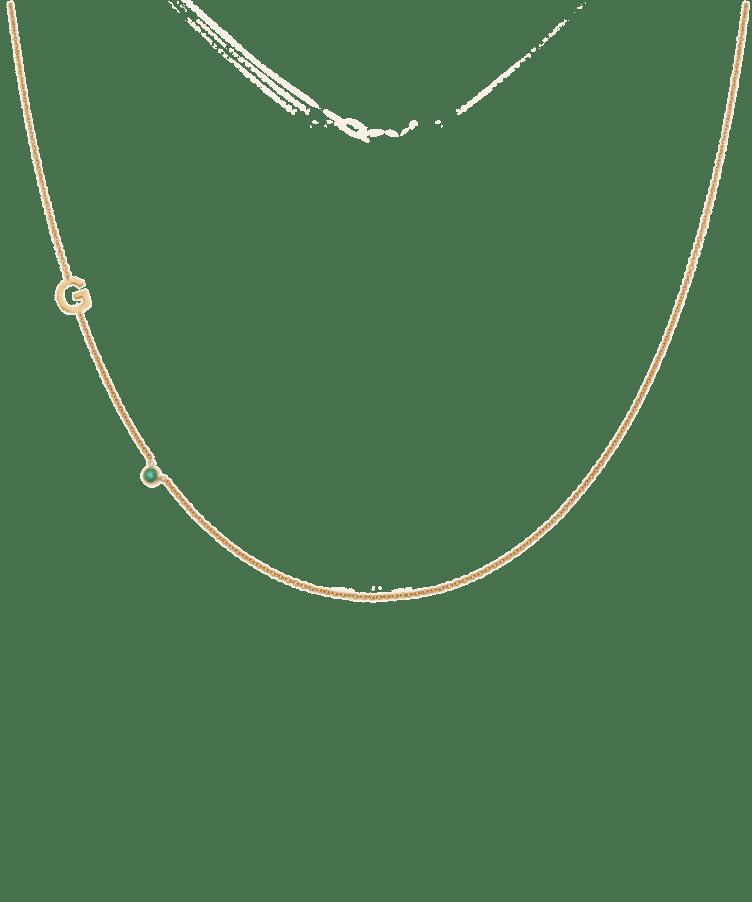 Letter + Birthstone Necklace-Large: 44 CM-Solid 14K Rose Gold