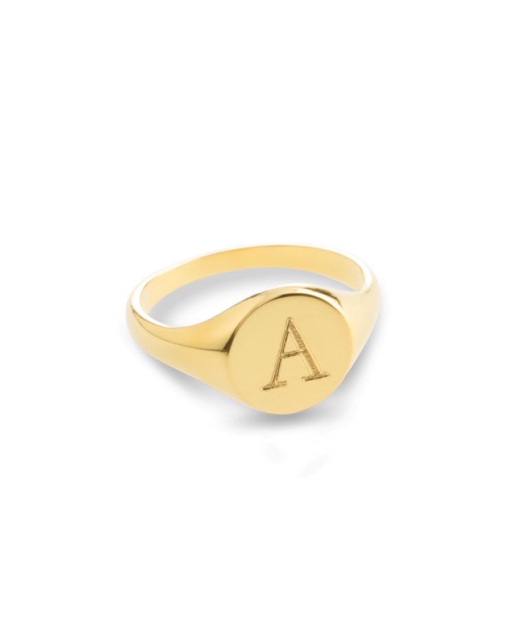 Initial Signet Ring-Solid 14K Yellow Gold-20