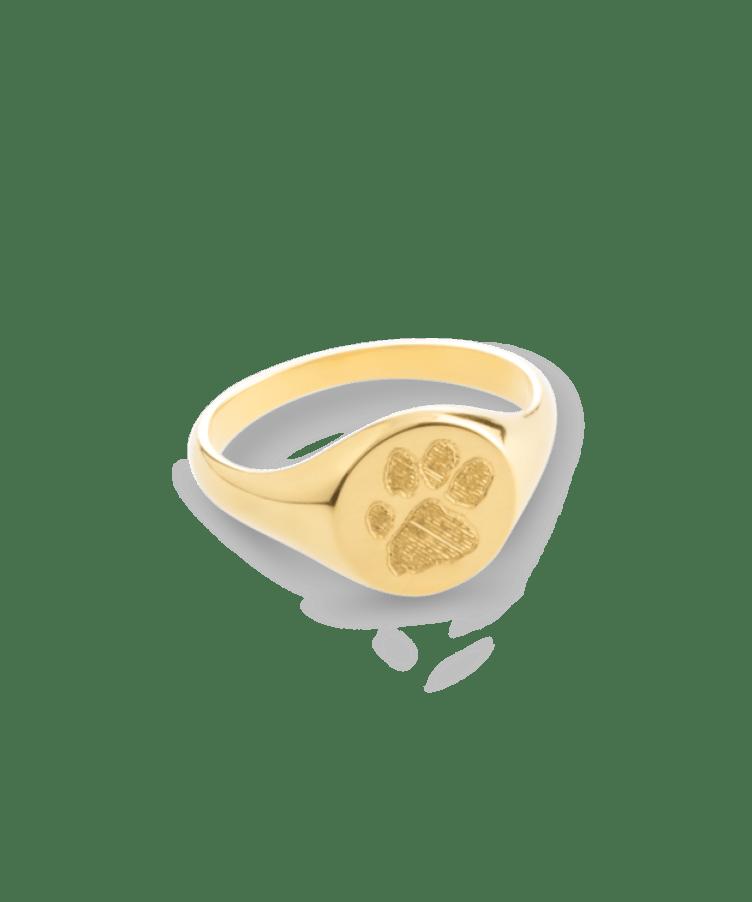Animal Print Signet Ring-Solid 14K Yellow Gold-20