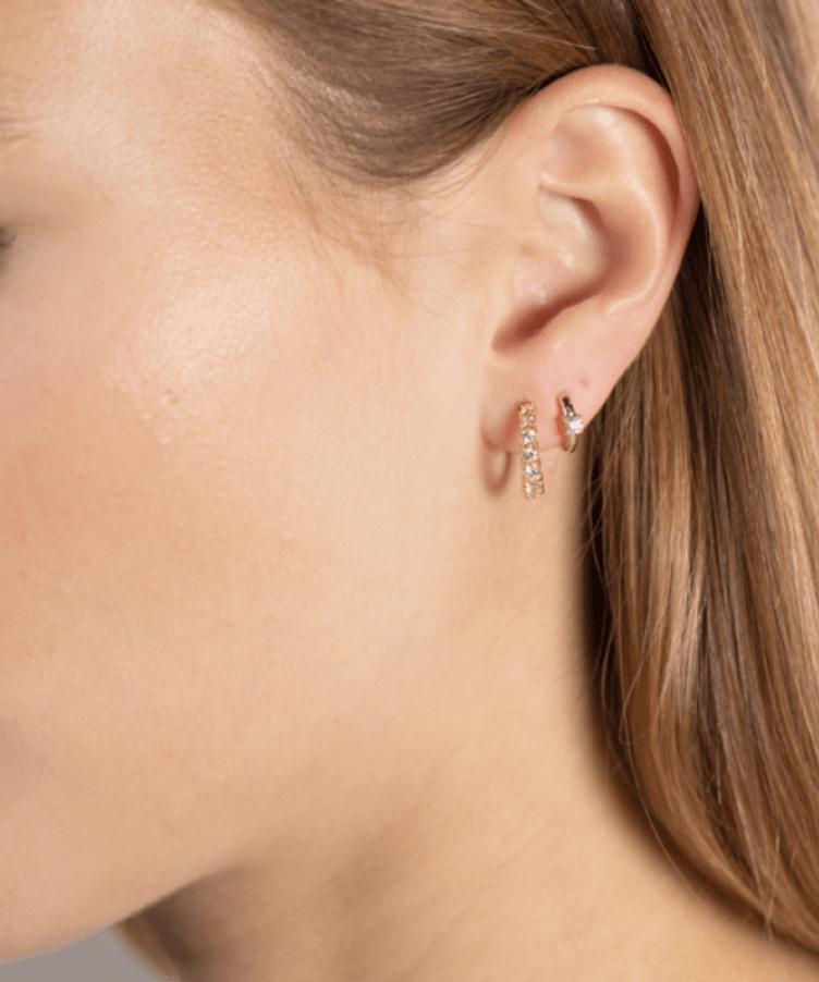 Single Birthstone Huggie Earring