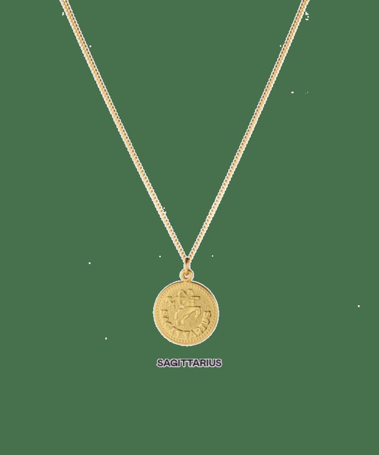 Zoe Zodiac Coin Necklace-Plated -Large: 50 CM-Sagittarius