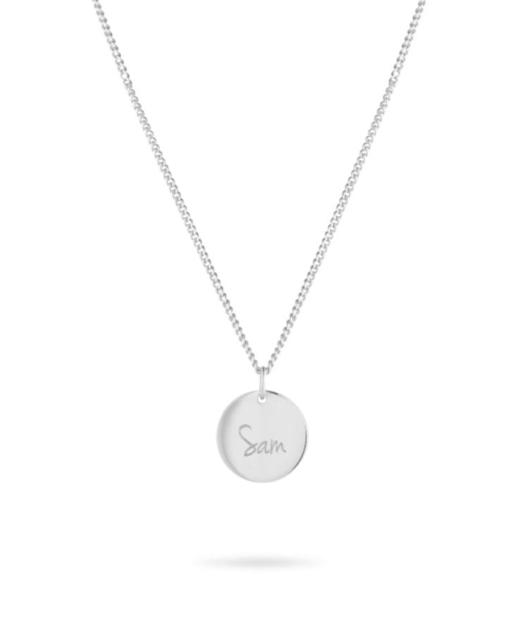 Signature Coin Necklace-Solid 9k White-Large: 50 CM