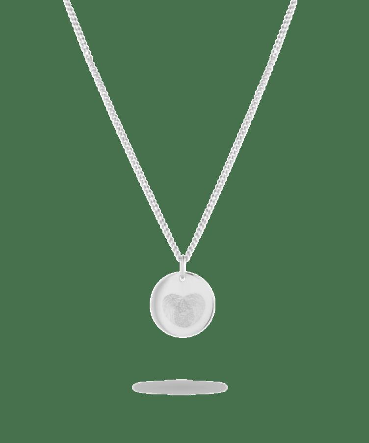 Fingerprint Coin Necklace-Solid 14K White Gold-Large: 50 CM