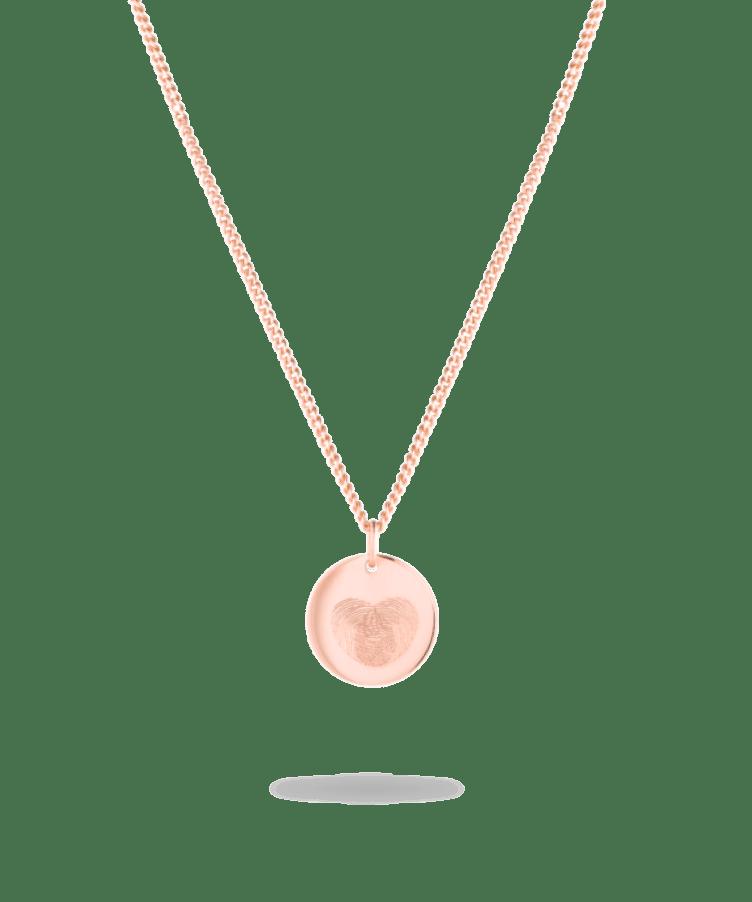 Fingerprint Coin Necklace-Solid 14K Rose Gold-Large: 50 CM
