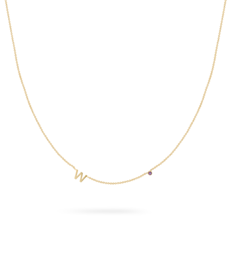 Mini Letter + Birthstone Necklace-Solid 14K Yellow Gold-35 cm