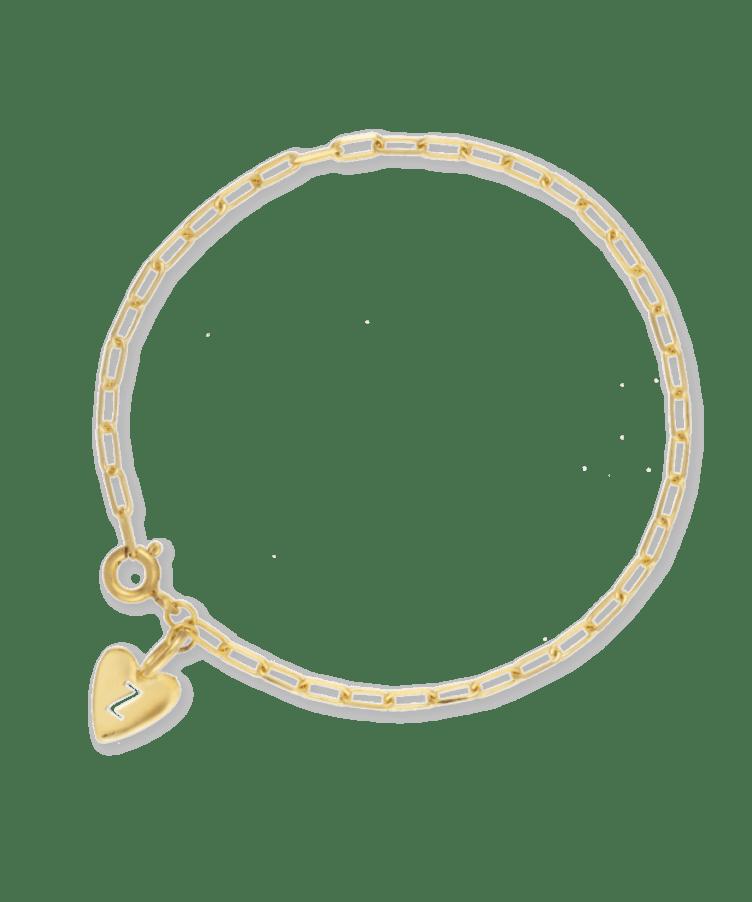 Hannah Heart Letter Bracelet-Plated -Extra Large: 19CM-Z